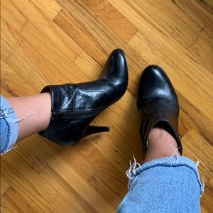 Black Leather Stilletto Ankle Boots